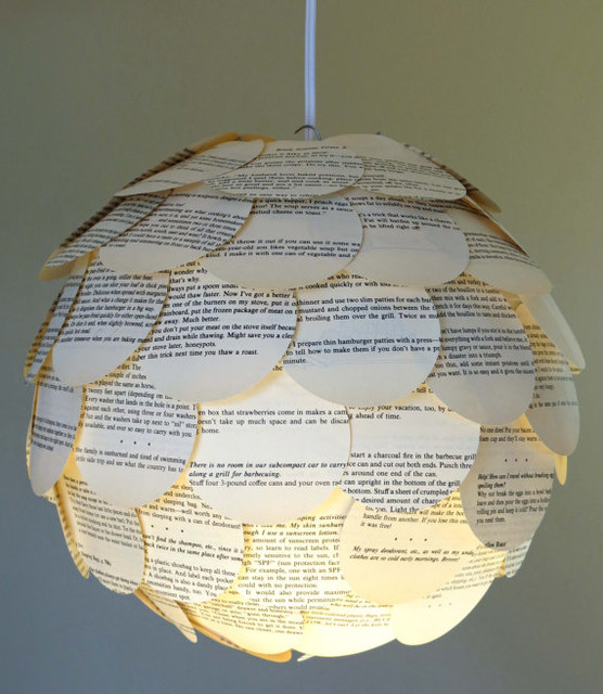 Artichoke Mixed Book Page Pendant Light