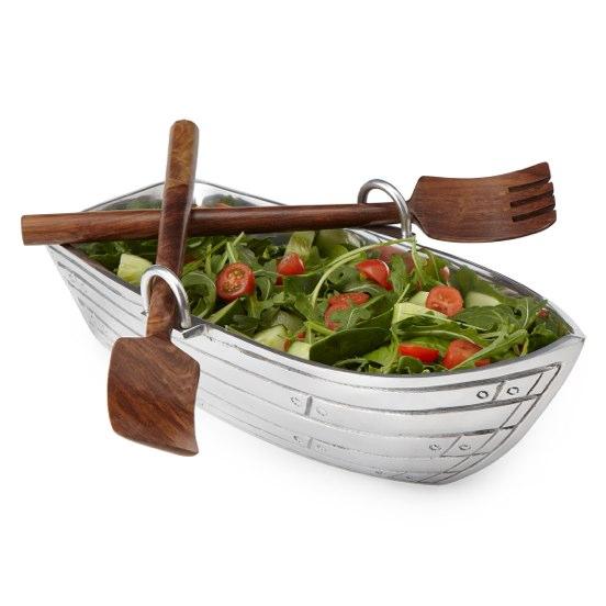 Boat Salad Bowl & Wood Servers