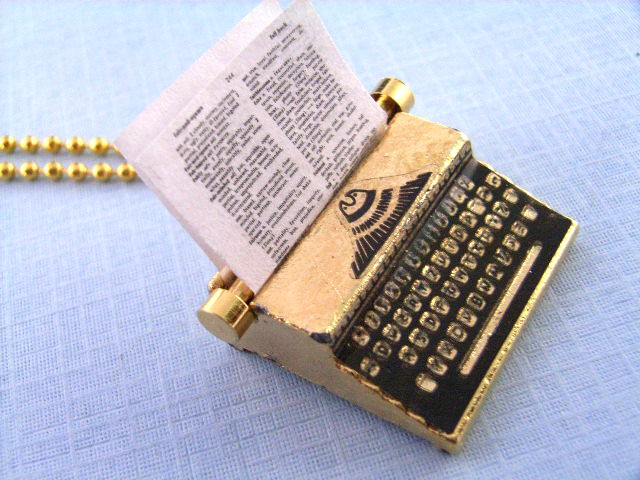 Gold Plated Typewriter Necklace