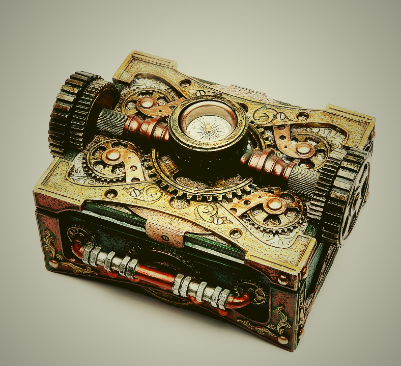 Jewelry Box Steam Punk With Compass