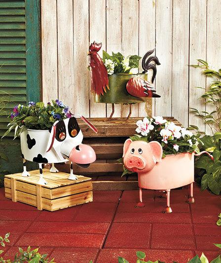 Metal Farmyard Animal Planters
