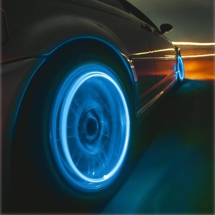 Neon Blue LED Tire Valve Caps