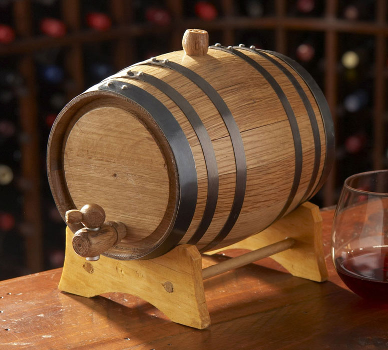 Oak Beverage Dispensing Barrel