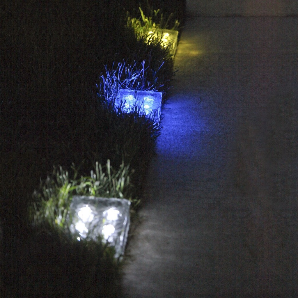 Frosted Glass Solar Brick Paver Light