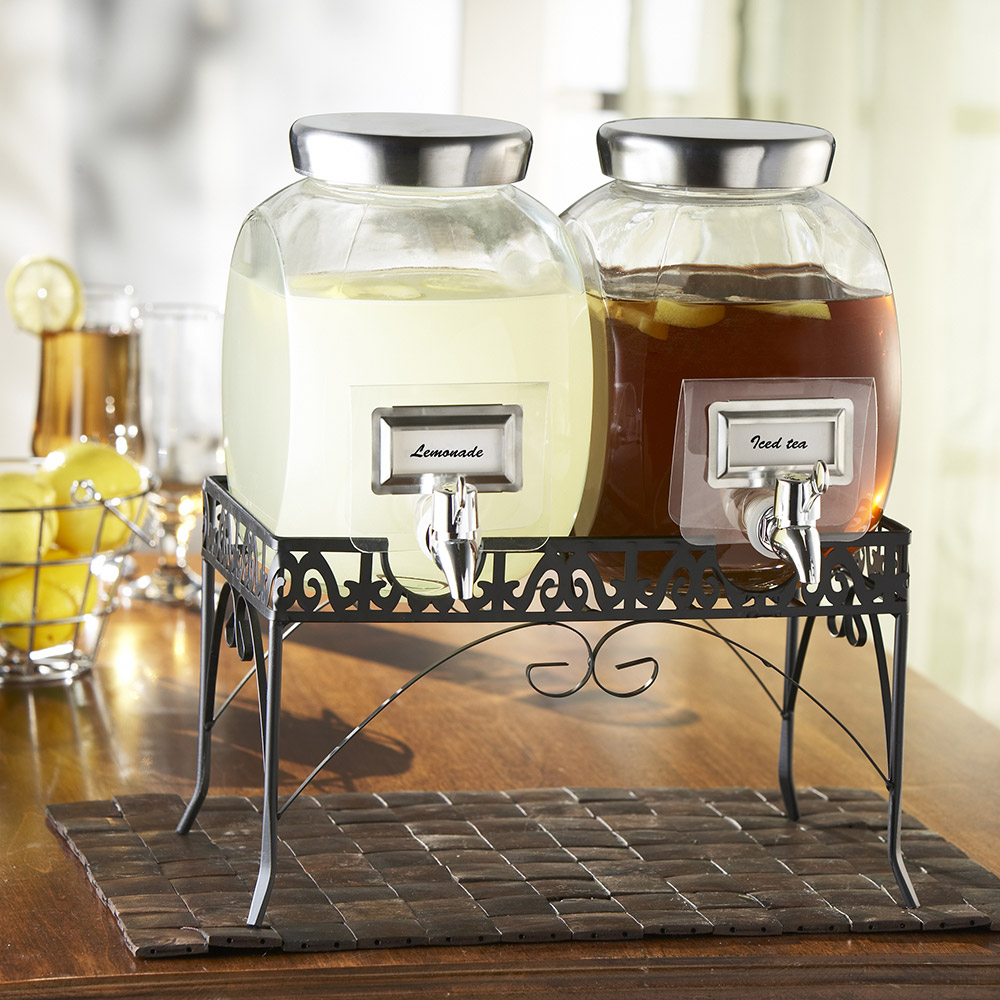 Mason Jar Dual Drink Dispensers with Stand