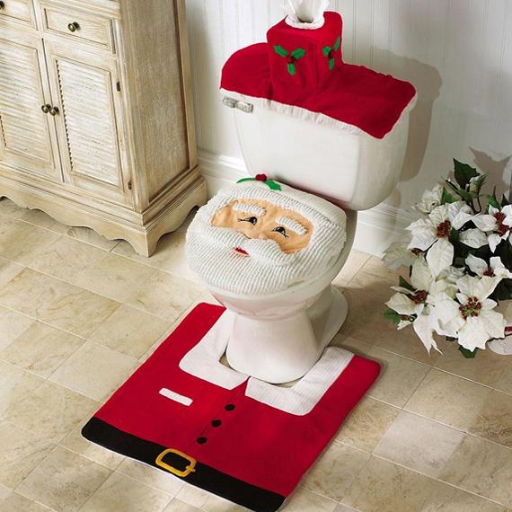Santa Toilet Seat Cover and Rug Set