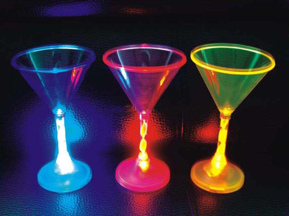 LED Light Up Flashing Martini Glasses