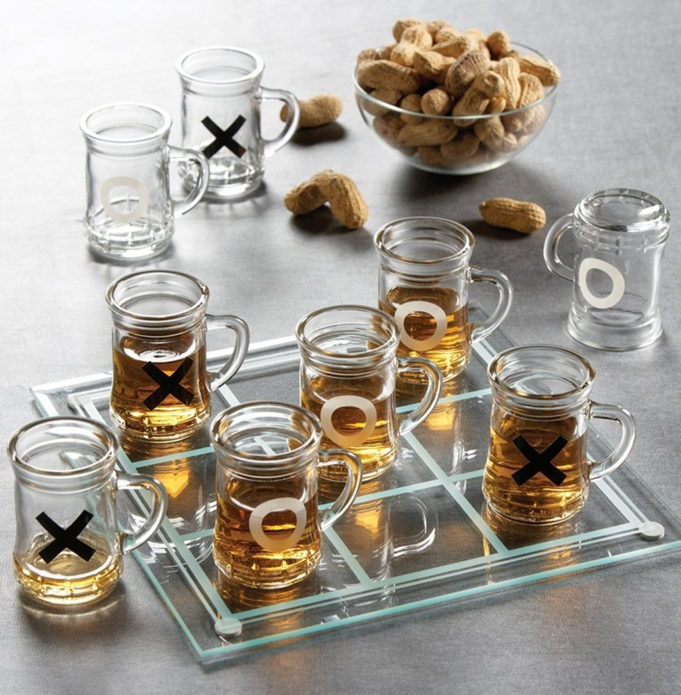 Tic Tac Toe Drinking Shot Glass Set