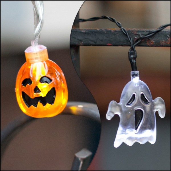 String Lights Ghost and Pumpkin