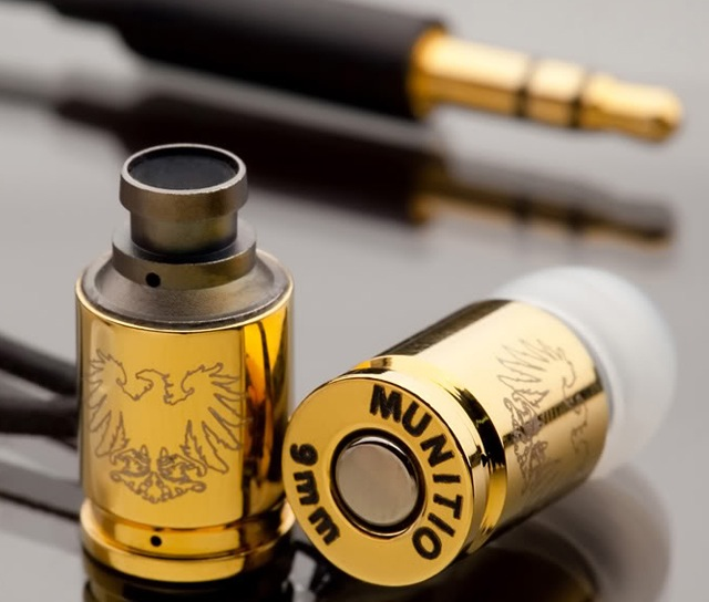 Gold Nine Millimeter Earphones