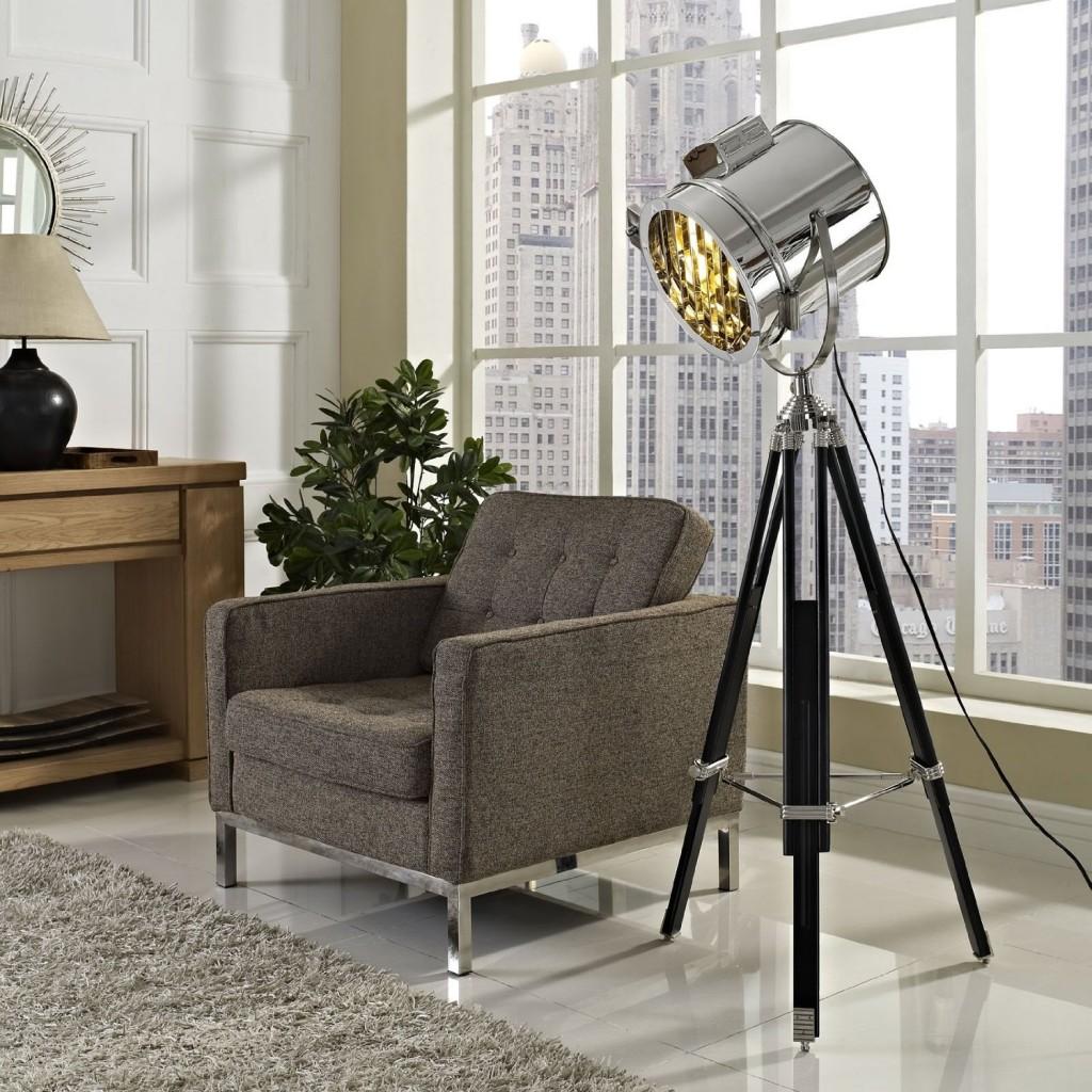 Industrial Metal and Wood Floor Lamp