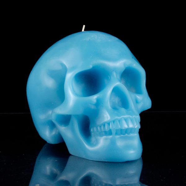 Mandible Skull Candle Blue