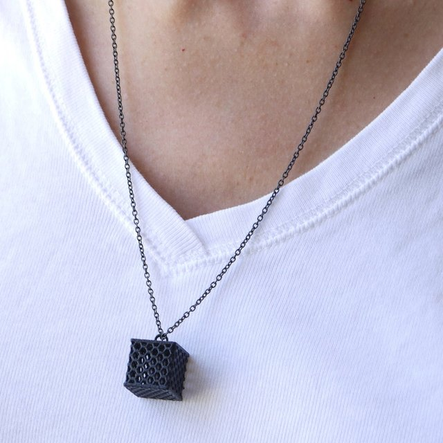 Perforated Honeycomb Cube Pendant Necklace