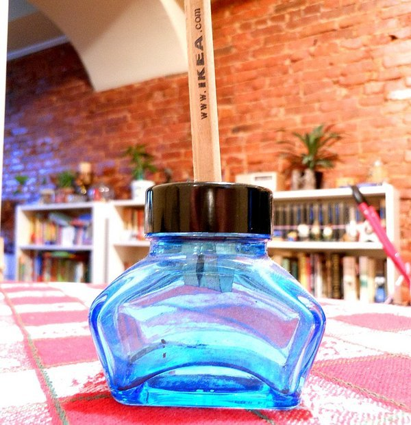 Glass Inkwell Pencil Sharpener by Dux
