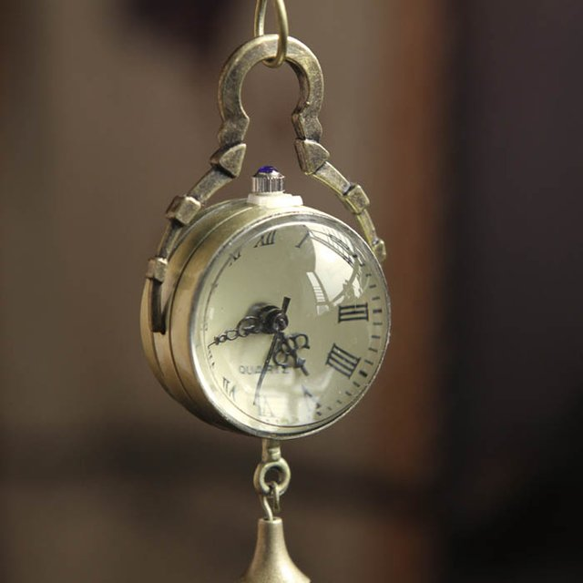 Bronze Pocket Watch Necklace