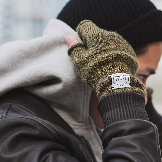 Ragg Wool Fingerless Gloves by Upstate Stock