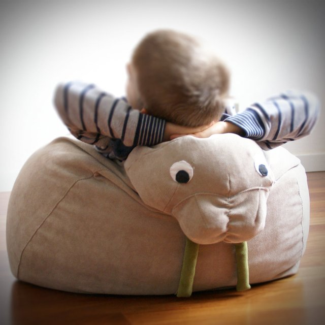 Beige Walrus Bean Bag by ilSaccotto