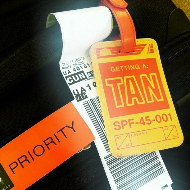 Getting A Tan Luggage Tag