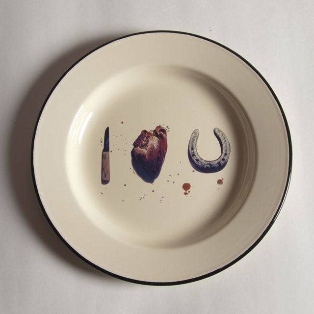 I Love You Enamel Plate by Maurizio Cattelan