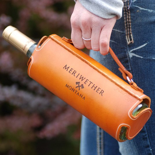 Leather Wine Bottle Carrier by Meriwether