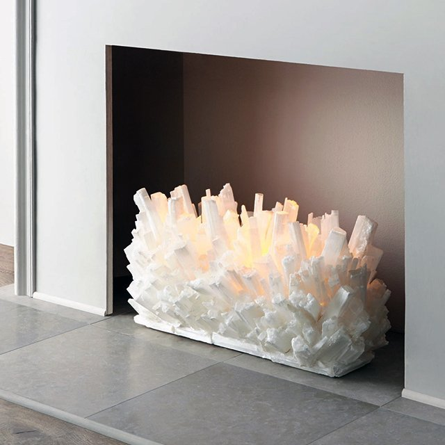 Selenite Fireplace Sculpture