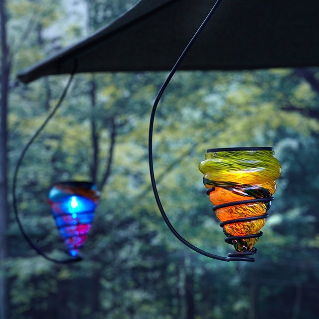 Solar-Powered Hanging Art-Glass LED Light