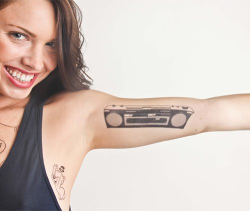 Boombox Temporary Tattoo