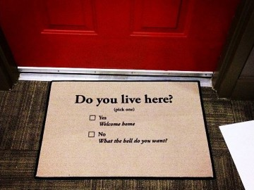 Do You Live Here fabric Doormat