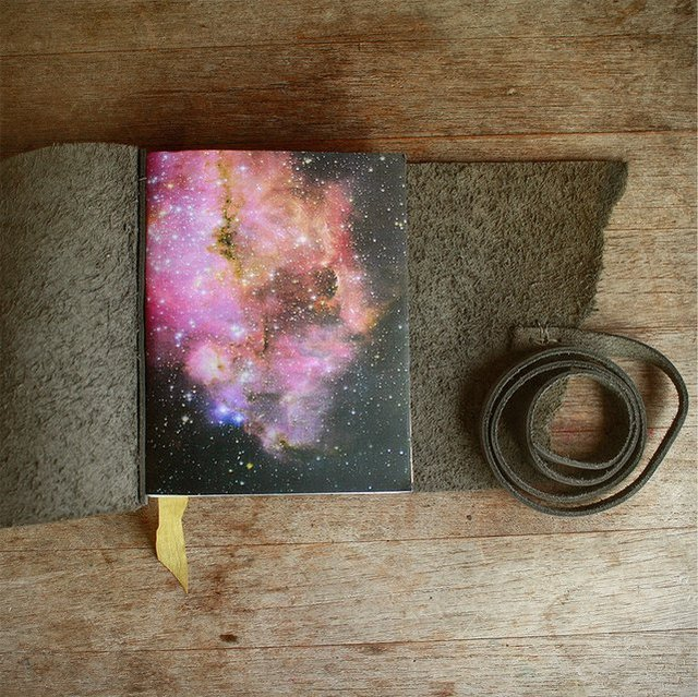 Neon Starfield Leather Journal