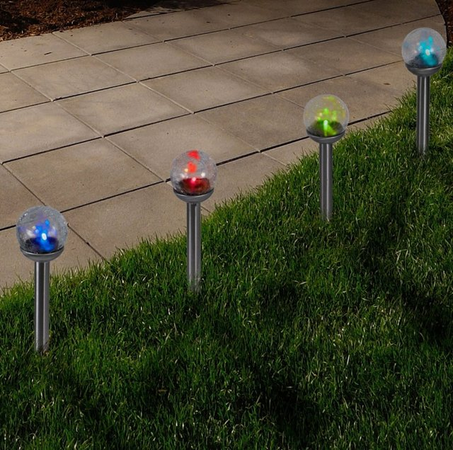 Color Changing Cracked Glass Globe Solar Lights