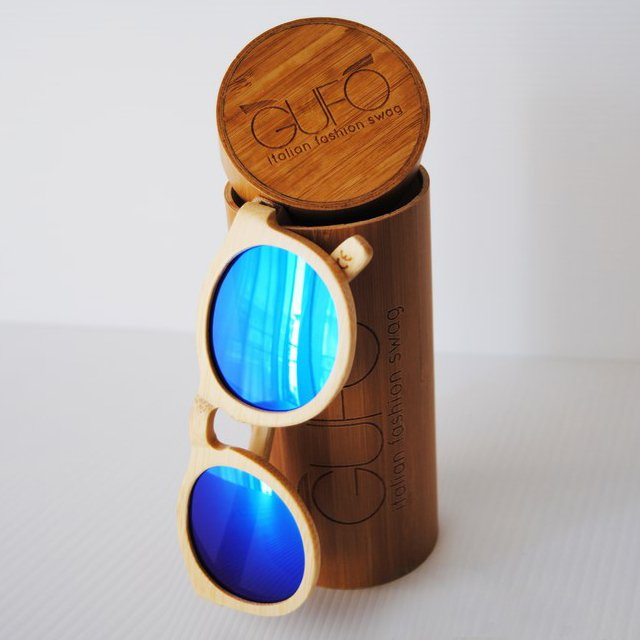 Light Wooden Sunglasses with Blue Mirrored Lenses