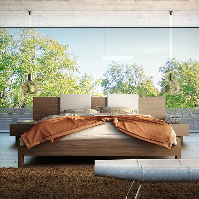 Monroe Bed in Walnut by Modloft