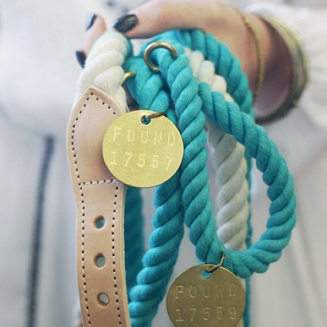 Teal Ombre Rope Dog Leash by Found My Animal