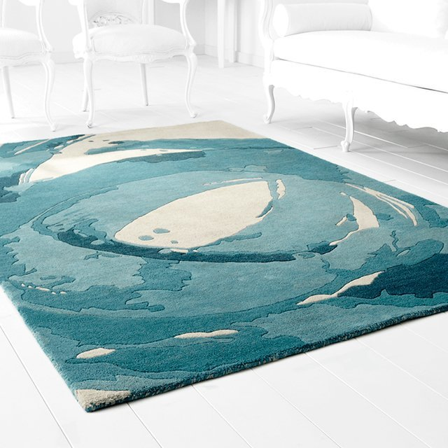 Blue & Ivory Tumult Abstract Rug