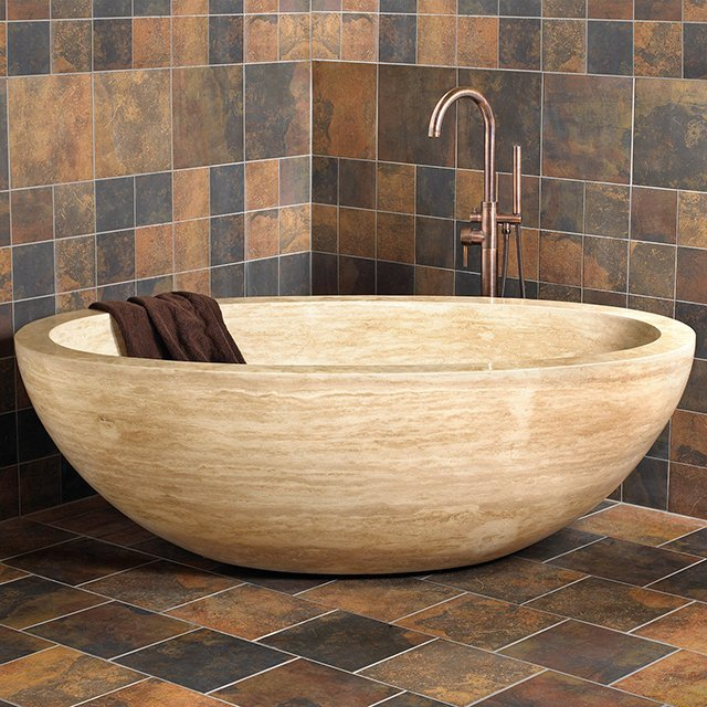 Claudius Oval Travertine Bathtub