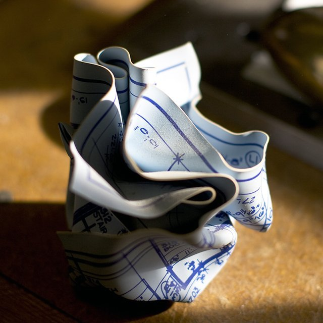 Crumpled Blueprint Paperweight
