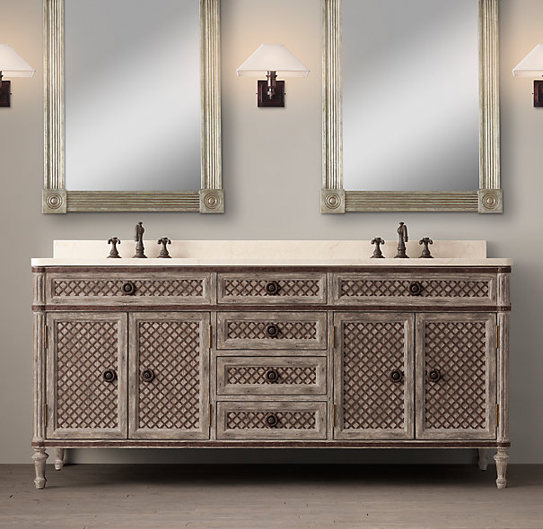 Louis XVI Treillage Double Vanity Sink