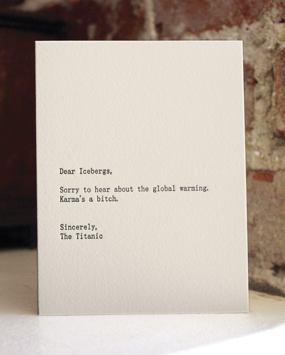Dear Icebergs Letterpress Card