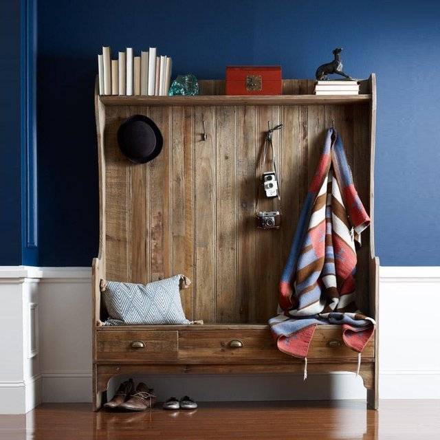 Entry Bench with Storage & Coat Rack
