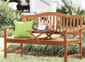 Outdoor Bench With Built-In Pop-Up Table