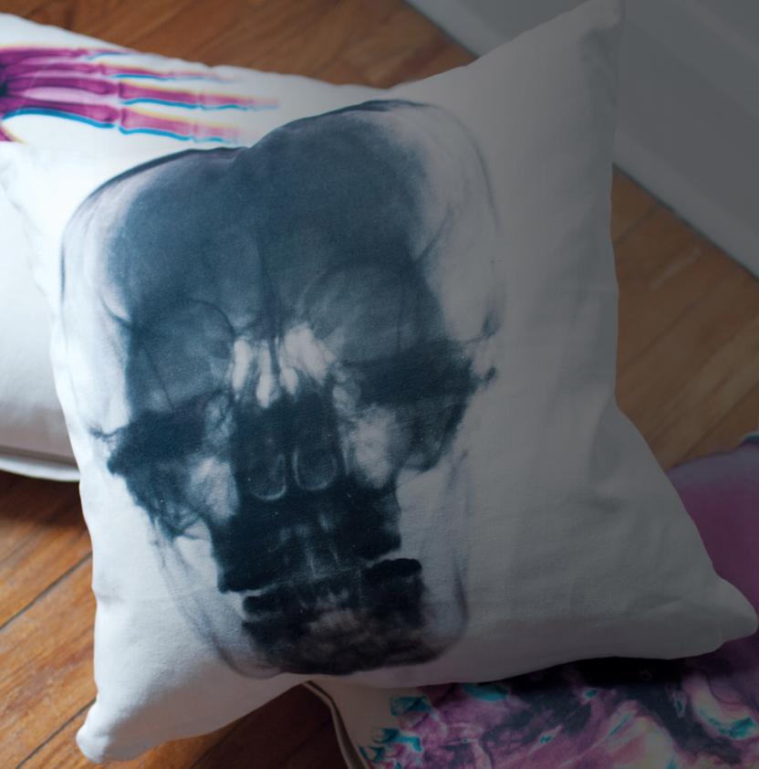 Radiant Relics X-Ray Skull Pillow