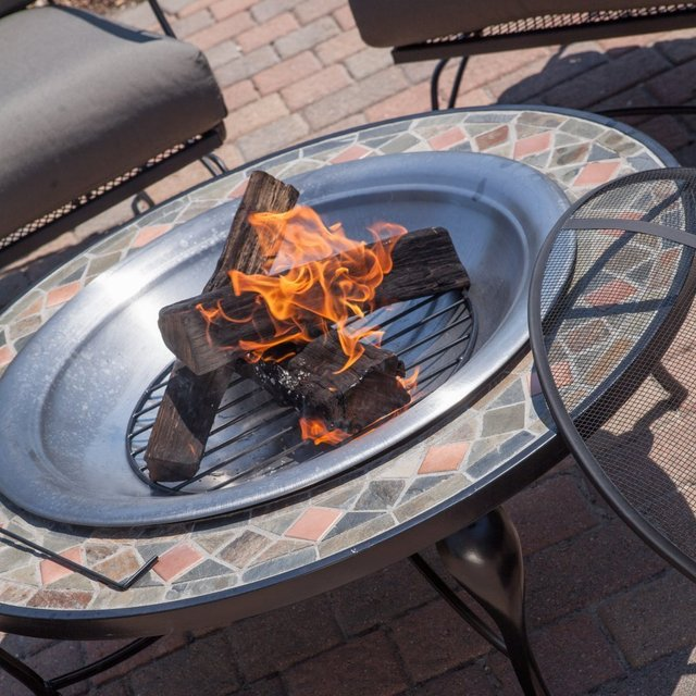 Red Ember Cascade Slate Mosaic Fire Pit