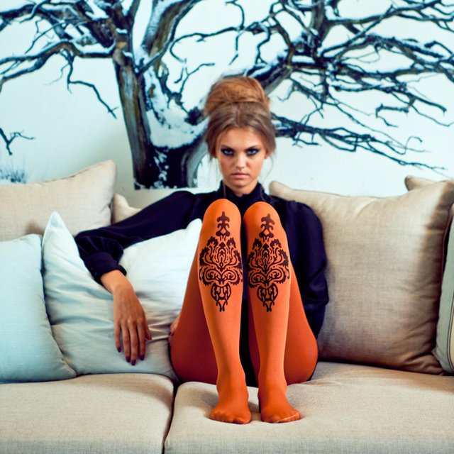 African Paisley Print Tights
