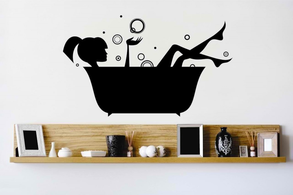 Black Bathtub Girl Wall Decal Art