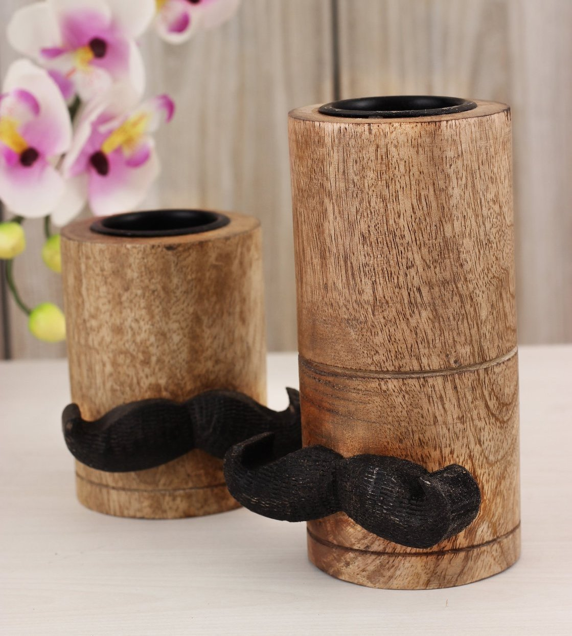 Moustache Pillar Tea Candle Holder