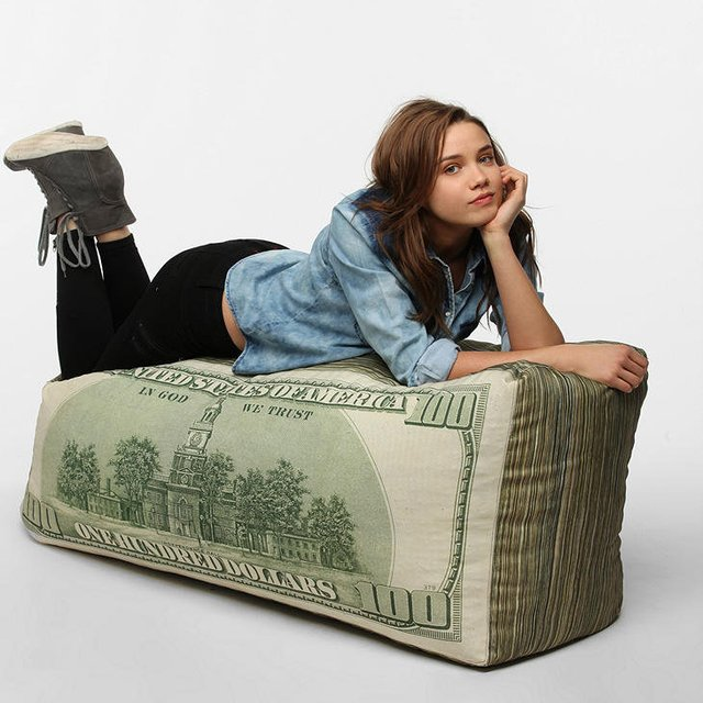 0 Dollar Bill Bean Bag Pillow