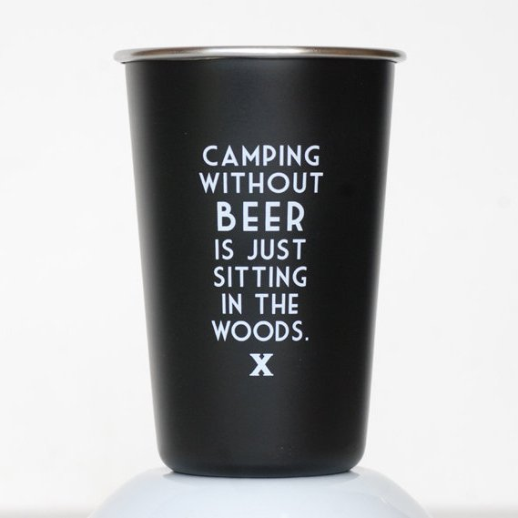 Camping Without Beer Steel Pint Glass