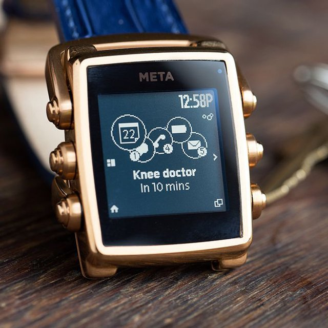 META M1 in Rose Gold with Blue Croco Strap