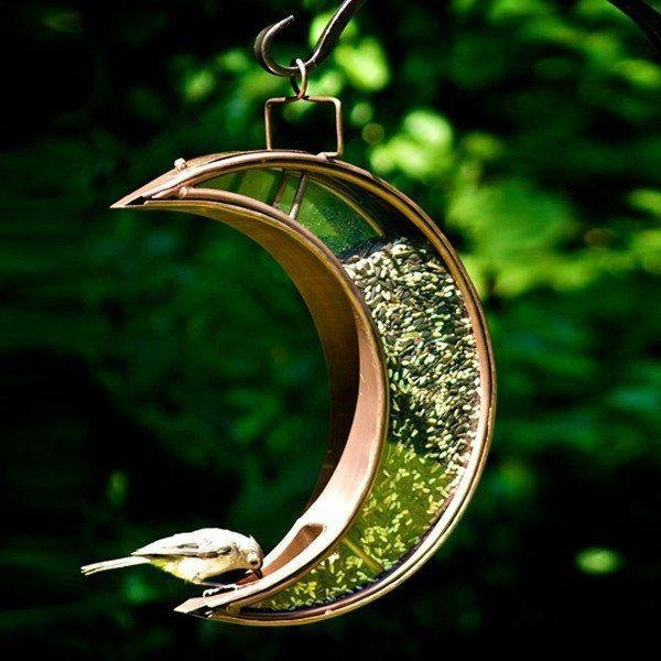 Copper & Bronze Crescent Moon Bird Feeder