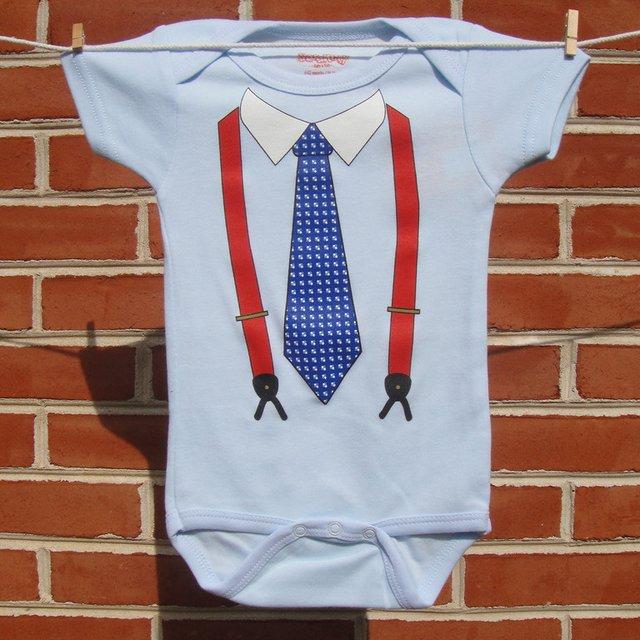 Larry King Suspenders Baby Bodysuit